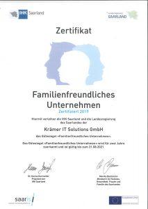 Zertifikat zum Gütesiegel Familienfreundliches Unternehmen